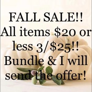 Tops - 🍁 Fall Sale 3/$25 for items $20 and under!! 🍁
